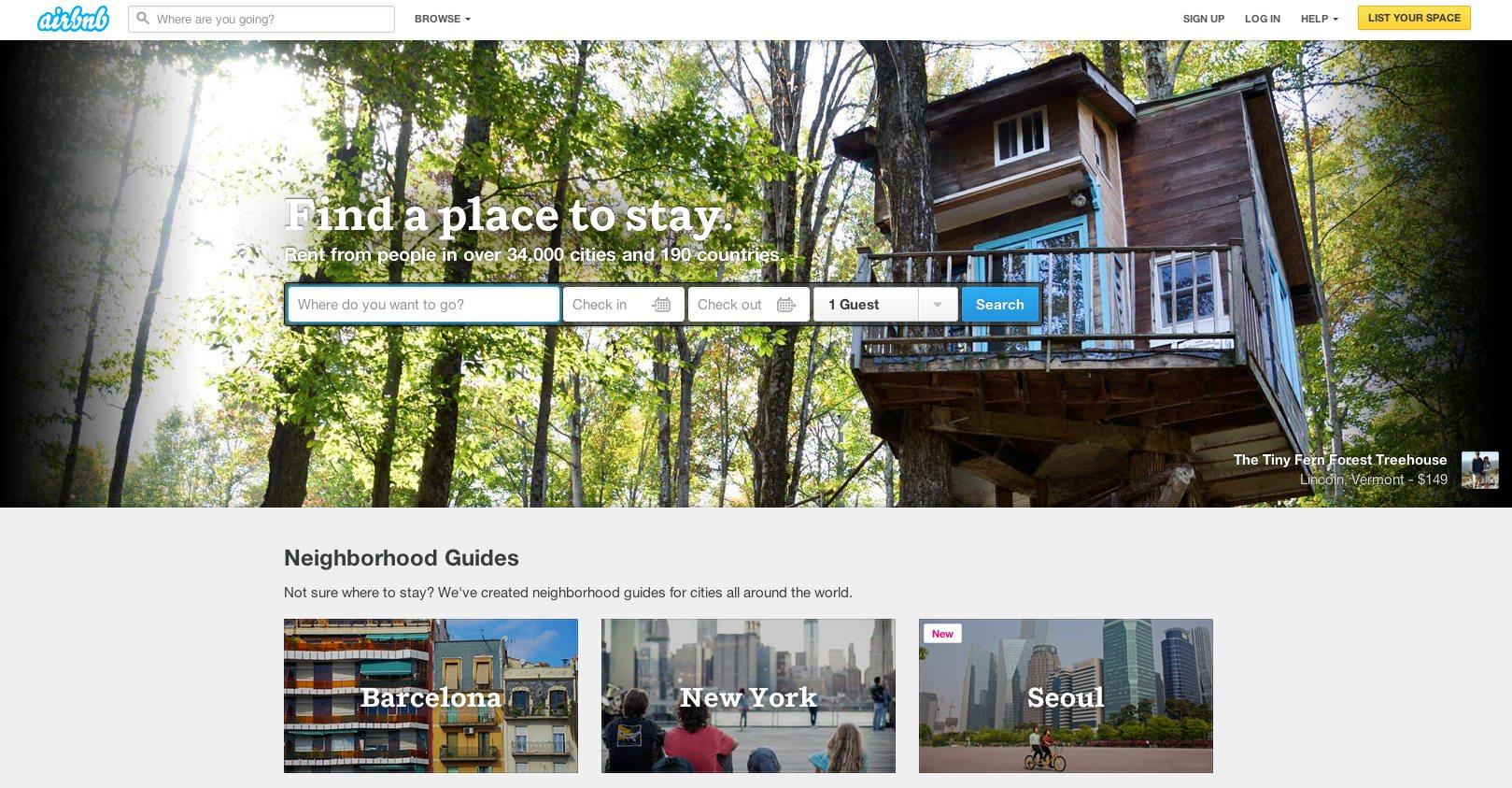 airbnb Website Design