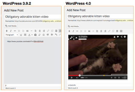 WordPress Live Previews of Embedded URLs and Media