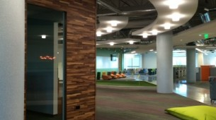 Sunlight-drenched call center floor at new GoDaddy Global Technology Center in Arizona