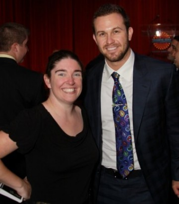 Tampa Bay Rays player Evan Longoria with Blogger Ashley Grant with