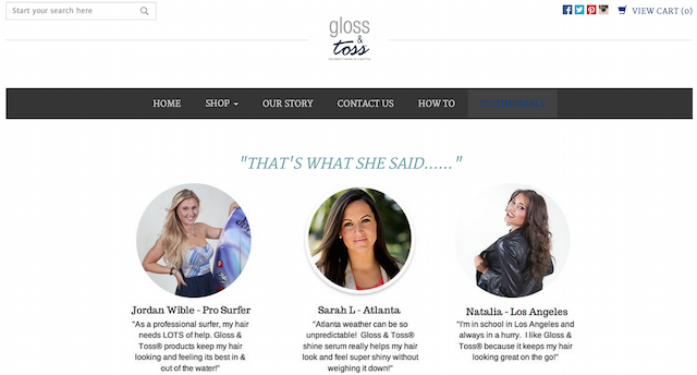 Gloss & Toss website