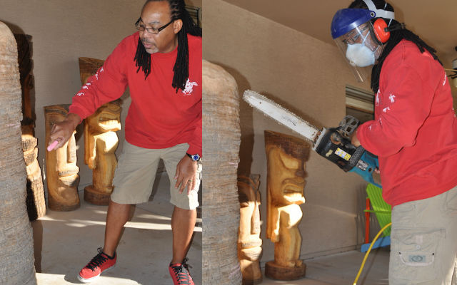 Tiki Republic's Pierre Mosley draws a tiki design before carving it with a chainsaw
