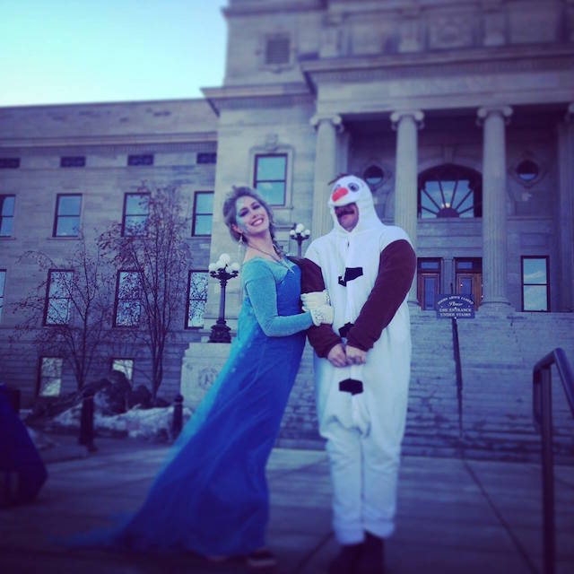 Unconventional but effective: Elke dressed up like Elsa and her Digital Director like Olaf to encourage preschoolers to storm the capitol building in support of public PreK.