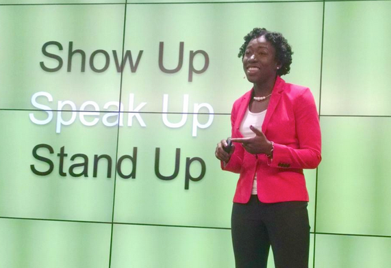 Joy Buolamwini speaks at GoDaddy Women in Technology event