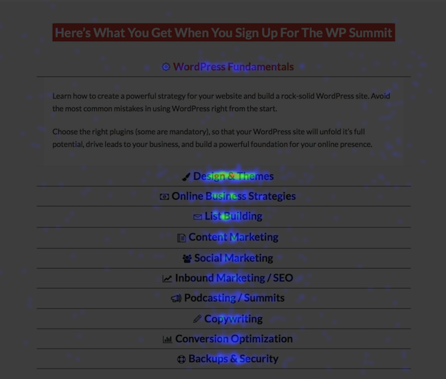 Example heatmap of virtual conference websites