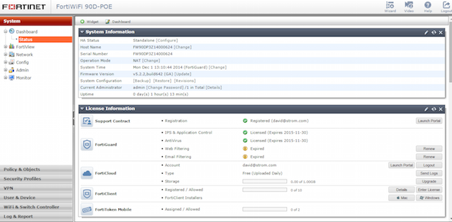 The main dashboard of the Fortinet appliance shows system and licensing options and the menu tree.
