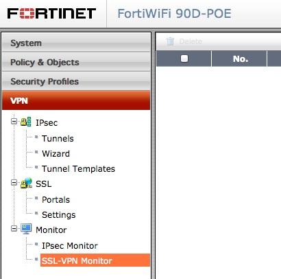 Basic VPN menu choices