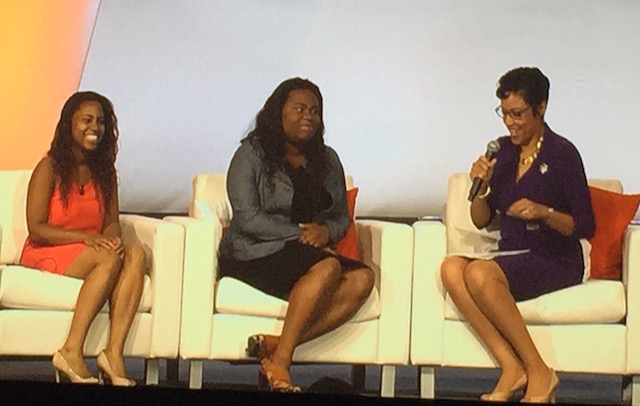 Girl Scouts CEO and two Scouts talking during #BlogHer15