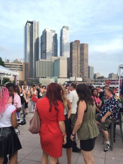 Bloggers outside with NYC buildings in background at #BlogHer15