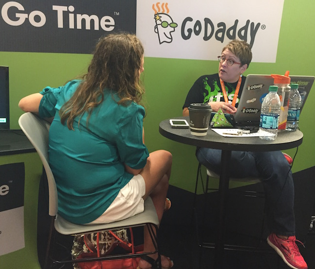GoDaddy booth consultation at #blogher15