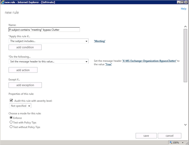 Office 365 Clutter Bypas