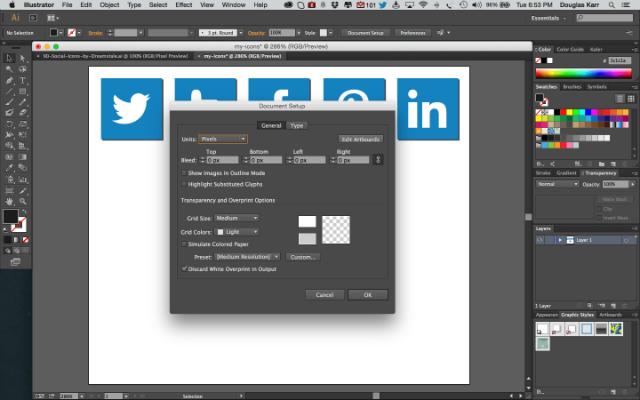 Screenshot of edit artboard on Adobe Illustrator