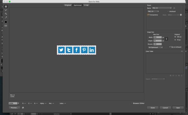 Screenshot of social media icon export on Adobe Illustrator