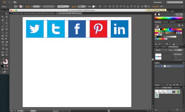 Pasted social media icons on Adobe Illustrator