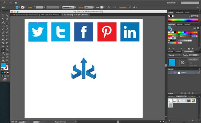 Eyedropper on Adobe Illustrator for editing spcial media icons