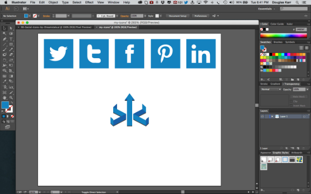 Select recolor on Adobe Illustrator for social media icons