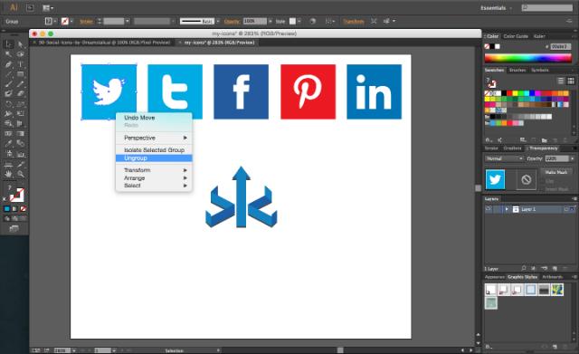 Ungroup on Adobe Illustrator social media icons