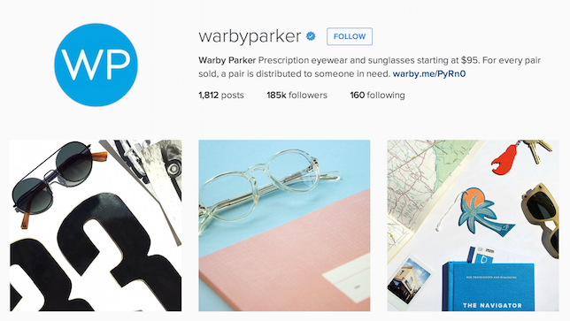 Shot of Warby Parker Instagram page to show consistency in Instagram marketing strategy