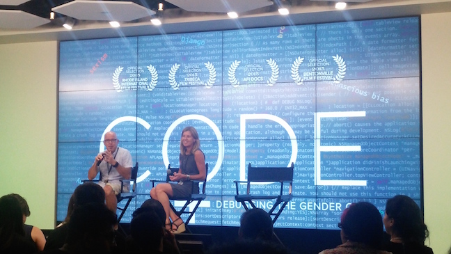 CODE director Robin Hauser Reynolds and GoDaddy CEO Blake Irving participate in a Q&A following a screening of CODE: Debugging the Gender Gap.