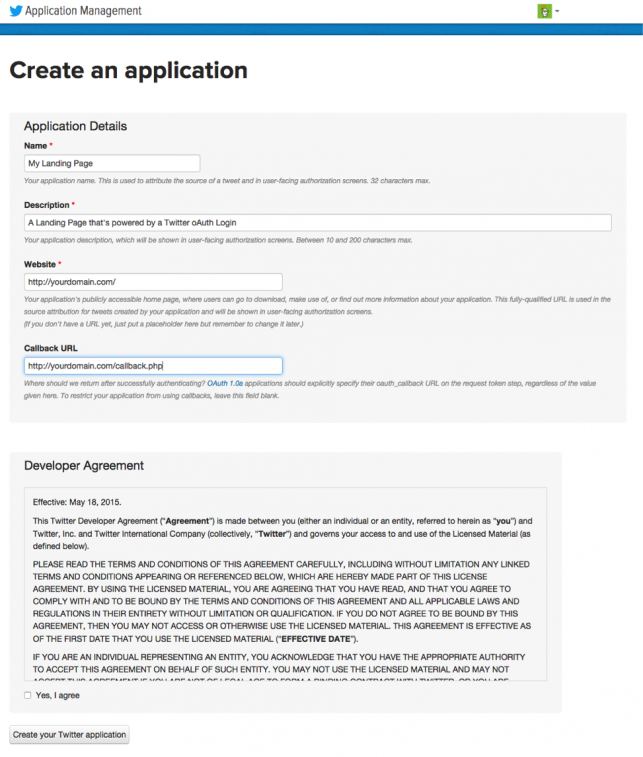 Example of contract for Twitter's oAuth authentication API