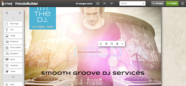 GoDaddy Website Builder - Homepage for DJ service