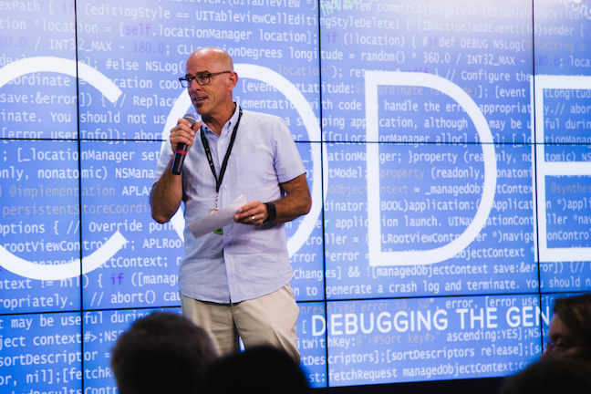 GoDaddy CEO Blake Irving introduces a screening of CODE: Debugging the Gender Gap at the company's Scottsdale office