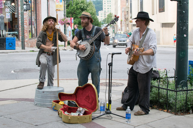 Street band at WordCamp Asheville
