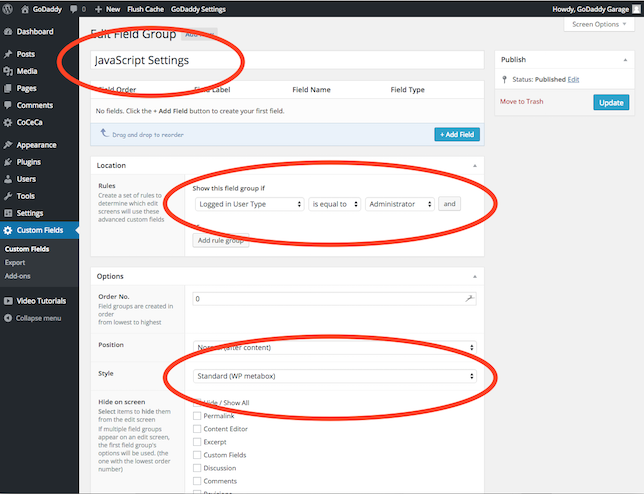 Advanced Custom Fields Plugin Usage for Adding JavaScript to WordPress