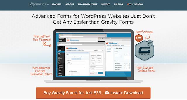 GravityForms.com website screenshot