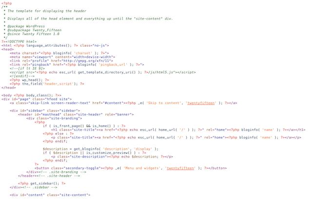 Header Script Code With WordPress Template