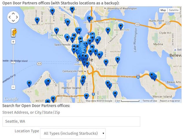 Example of a scalable location map in WordPress.