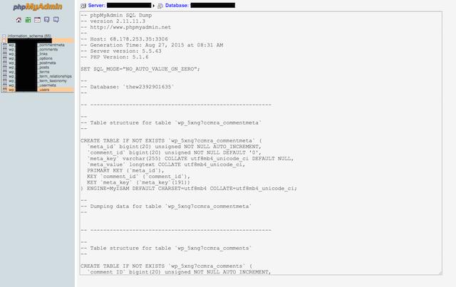 phpmyadmin export sql