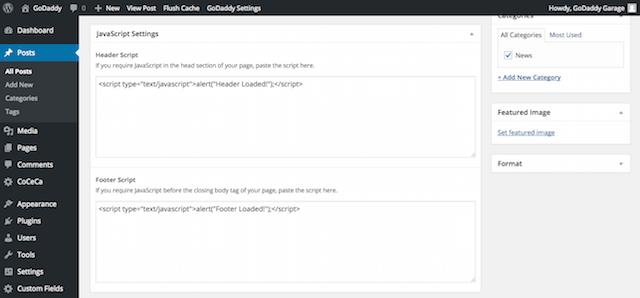 JavaScript Settings in Post Entry