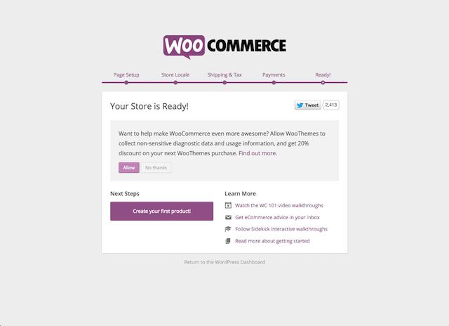 WooCommerce Setup Completion Screen