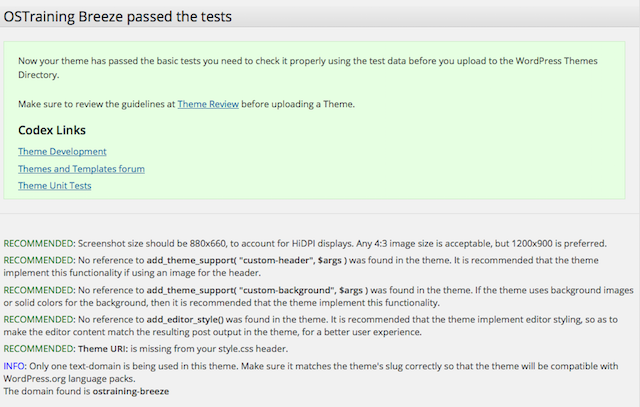 WordPress Theme Test Pass Notification