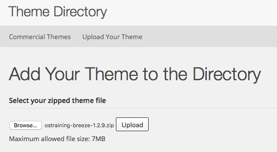 WordPress.org Theme Directory Add Your Theme Option