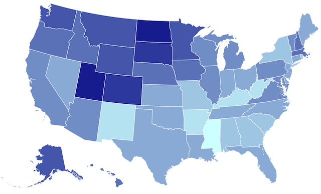 US map that shows best states to succeed with a small business