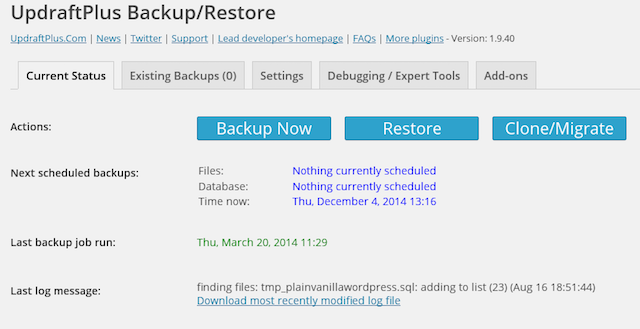 UpdraftPlus is a good plugin option for backing up WordPress.org websites