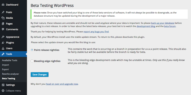 WordPress 4.4 beta tester