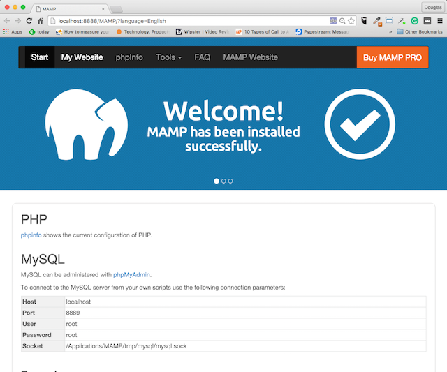 MAMP Welcome Screen With PHP and MySQL Configuration Status
