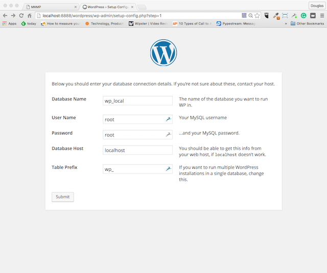 MAMP WordPress Database Configure