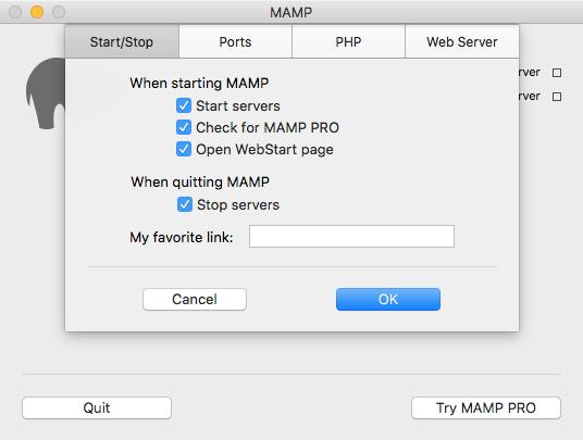 MAMP Start/Stop Options