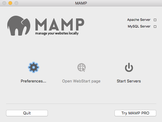 MAMP App Screen With Preferences Highlighted