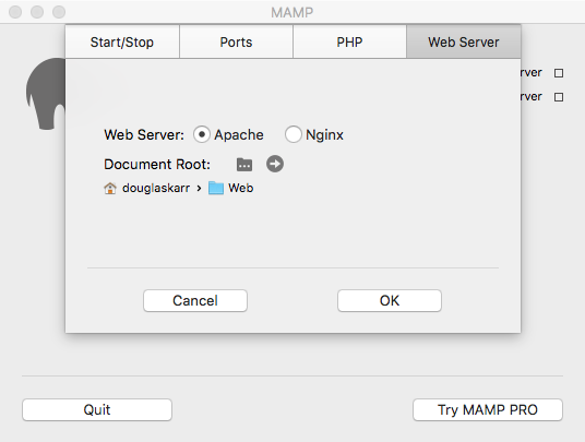 MAMP Web Server Settings