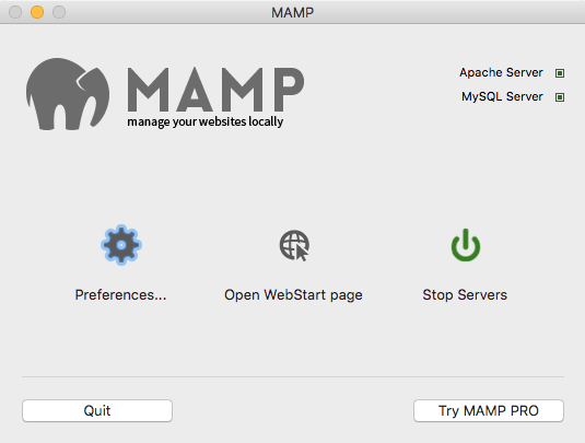 MAMP App Screen With Stop Servers Highlighted