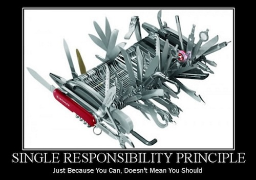 swiss army knife to illustrate Single Responsibility Principle for writing clean code
