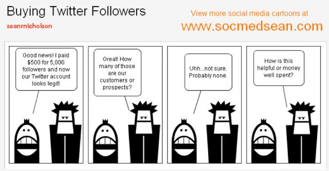 Buying Twitter Followers Cartoon