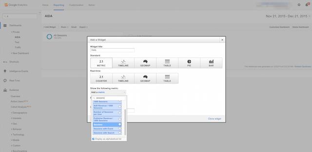 Add Widget in Google Analytics