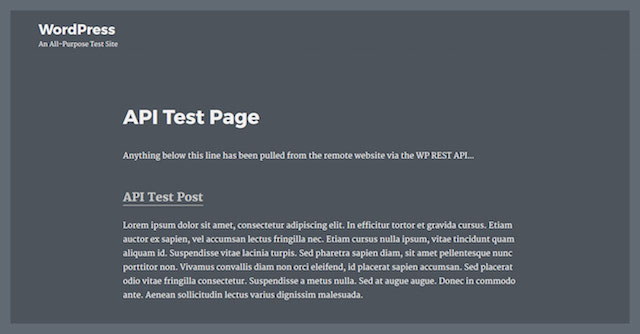 WordPress REST API Test Page