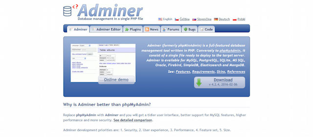 Adminer Database Management